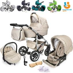 3 in 1 Baby Buggy Pushchair Pram Car Seat Carrycot Travel Sy