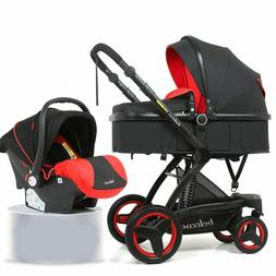Baby Stroller 3 In 1 High View Travel Bassinet Combo PU Push