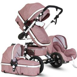 Baby Stroller 3 in 1 High view Pram foldable travel carriage