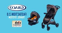 baby stroller & carseat Graco set, 4 wheels, Fast action Fol