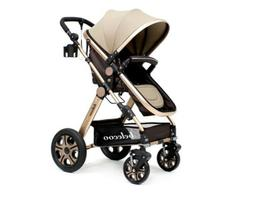 Belecoo Baby Stroller Luxury Baby All Terrain 3 In 1 Silver