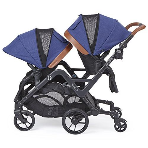 Contours Tandem Stroller or Twins - 360° Turning and Handling Over Curbs, Options, UPF50+ Canopies, Indigo Blue
