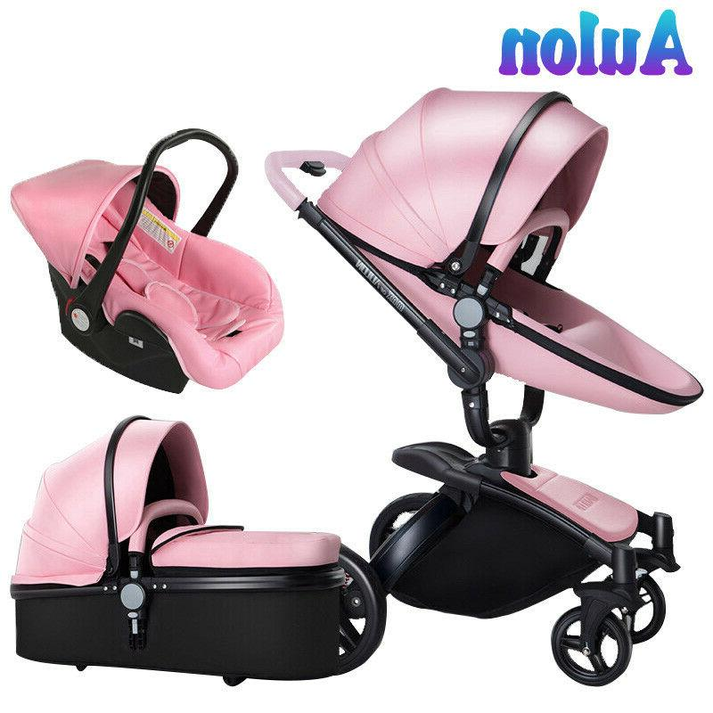 luxury baby stroller 3 in 1 leather