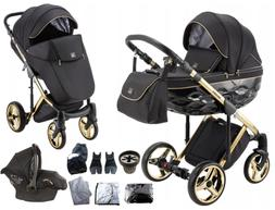 Limited Adamex Chantal Gold Black Baby Pram + Gold Car Seat