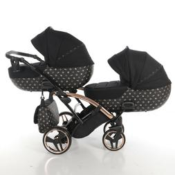 Premium Twin Pram Tako Laret Imperial Duo SLIM Black+Rose Go