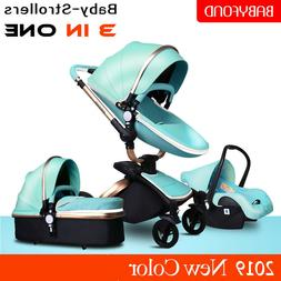 PU Leather 3 In 1 Baby Stroller High View Pram Folding Trave
