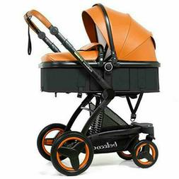 PU Leather Baby Strolle Reversible All Terrain Travel Baby T