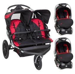 Travel System Compatible Red Combo Double Jogging Stroller w